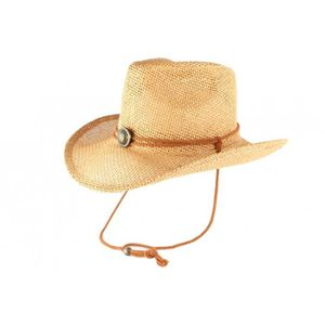 CHAPEAU - BOB Chapeau Cowboy Country Paille Marron Clair Cashy -