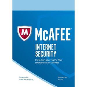 BUREAUTIQUE À TÉLÉCHARGER McAfee Internet Security 2019 1 Poste / 1 An / Ver