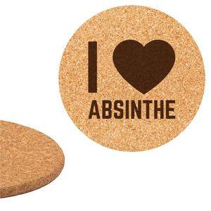 DESSOUS DE PLAT  Dessous de plat en liège 18cm gravé I love Absinth
