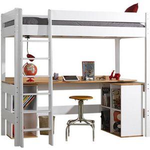LIT MEZZANINE Lit mezzanine avec bureau Cléa  Blanc 90x190 cm