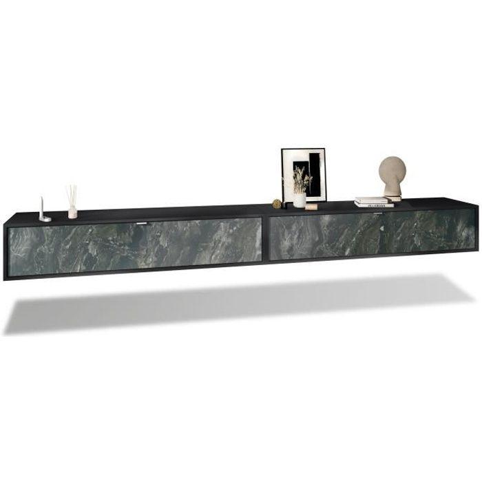 Ensemble de 2 set meuble TV Lana 140 armoire murale lowboard 140 x 29 x 37 cm, caisson en Noir mat, façades en Marbre Graphite