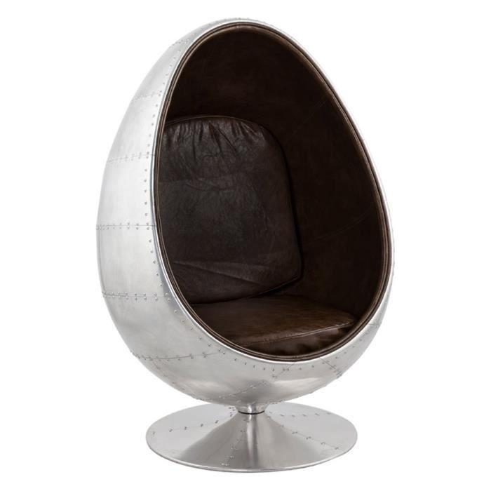 Fauteuil oeuf egg 'PILOT' gris et brun en PU