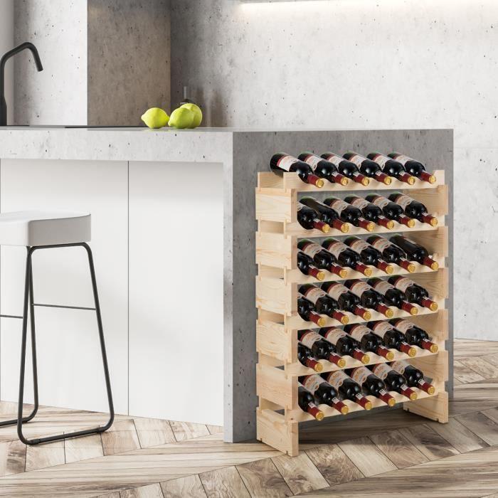 DREAMADEM Étagère à Bouteille Empilable pour 36 Bouteilles, Casier à Vin en Bois Massif sur Pied pour Maison, Comptoir, Cave, 63,2X2