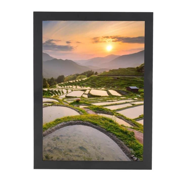 Cadre photo cadre Maison Décoration de table Ornements en bois A3 (Noir)-LAT