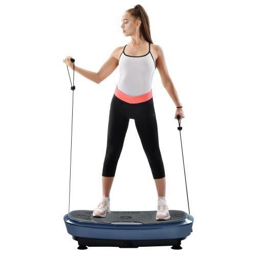Fitness Plateforme Vibrante et Oscillante Ultra Slim Perte de poids & Brûleur de Graisses à la Maison Bluetooth--BLEU