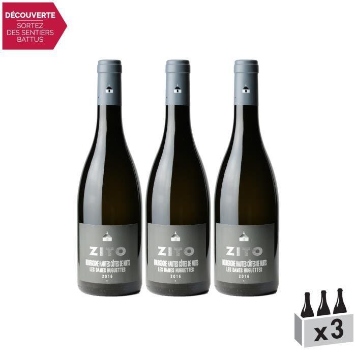 Bourgogne Hautes Côtes de Nuits Dames Huguettes Blanc 2016 - Bernard Zito - Vin AOC Blanc de Bourgogne - Lot de 3x75cl - Cépage