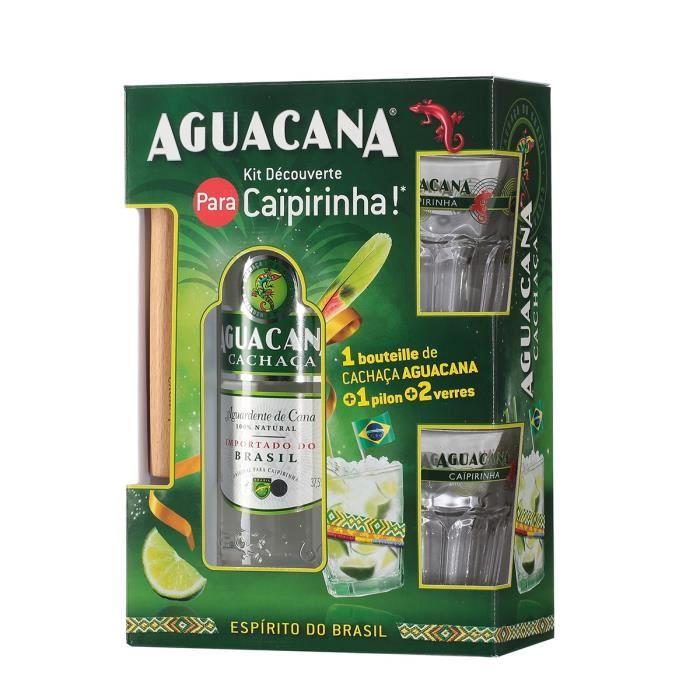 Coffret Caipirinha - Cachaça Aguacana + 1 pilon + 2 verres - 37,5%vol - 70cl