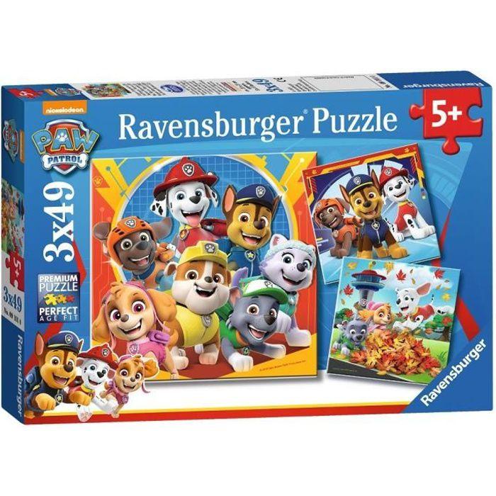 PAT'PATROUILLE Puzzles 3x49 pièces - Prêts à secourir - Ravensburger - Lot de puzzles enfant - Dès 5 ans