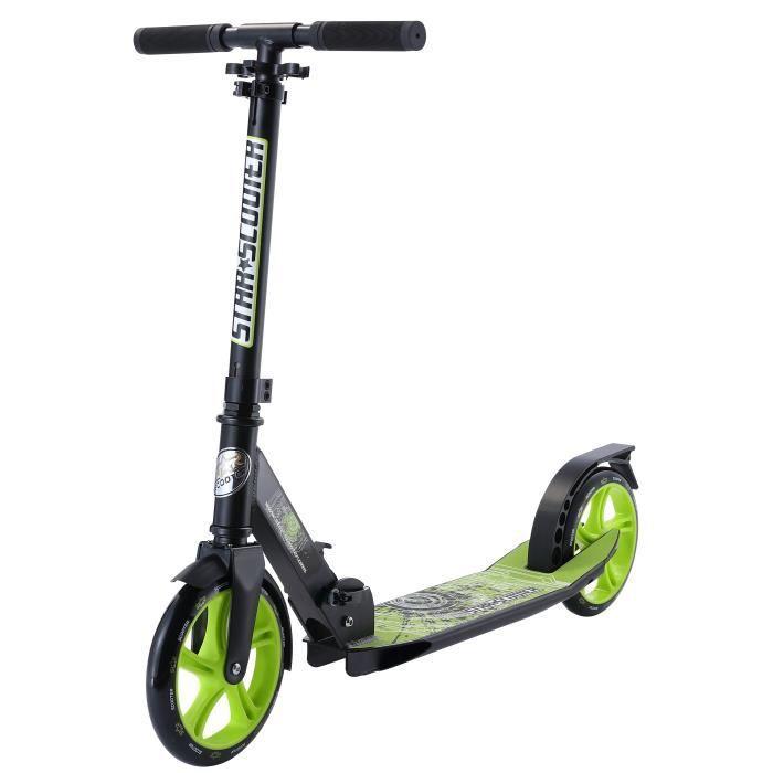 STAR-SCOOTER - Patinette-Trottinette - 205mm - pour enfants de 7 ans - Edition Premium Cruising - garçons et filles - Noir & Vert