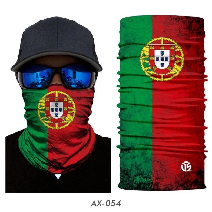 54 Portugal -Masque à drapeau unisexe imprimé Bandana, cache col, écharpe Tube, multifonctionnel, demi visage, randonnée, motard, cy