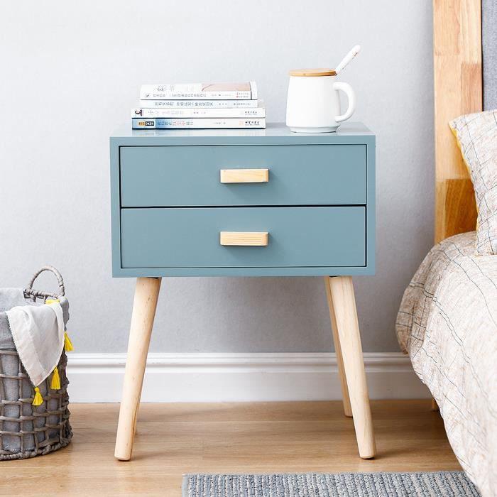 Table de Chevet scandinave, Pieds en bois massif, chevet avec 2 tiroirs Bleu clair
