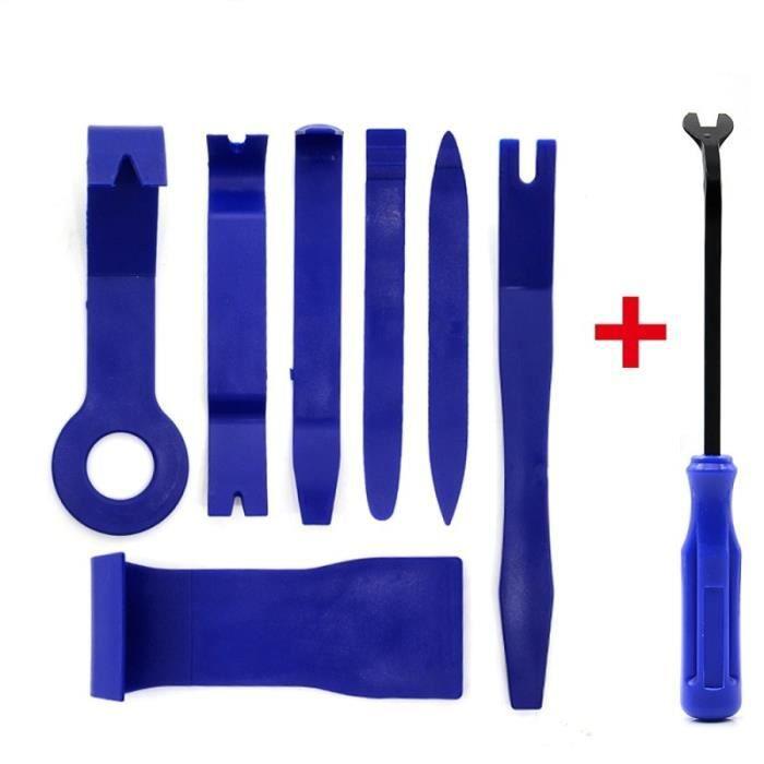 Kit d'outils d'ouverture à levier de traction pour vitres de voiture, 12 pièces, Film de teinte, Clip de pann Blue with 7pcs