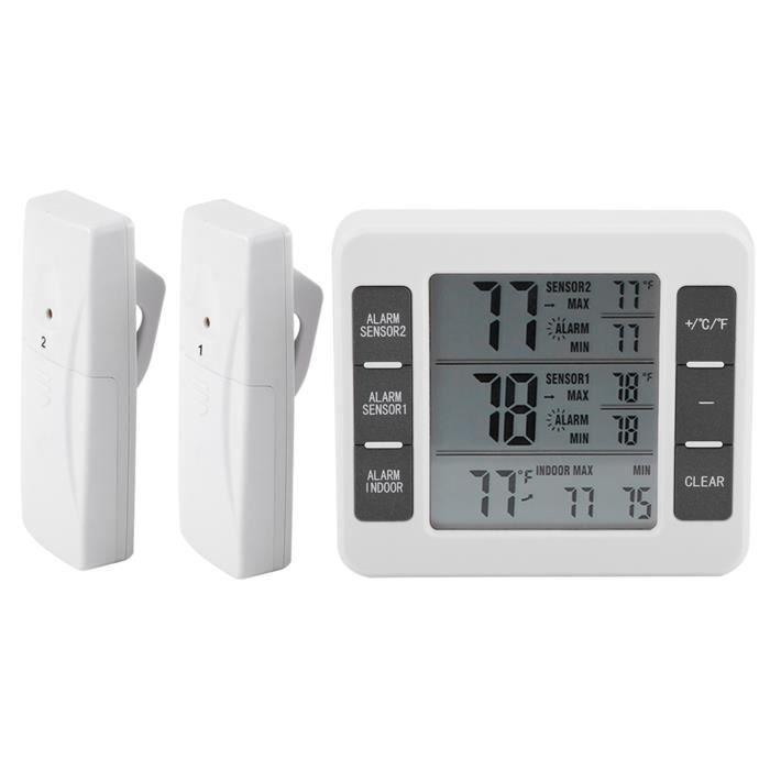 Thermomètre sans fil, thermomètre de réfrigérateur, thermomètre numérique, LED pour intérieur extérieur pour usage