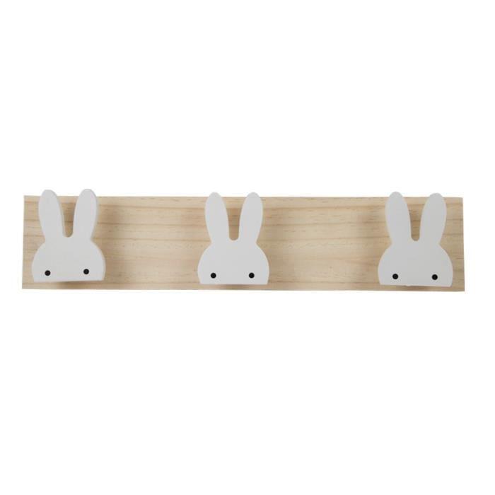 Patère,Chambre d'enfants crochets en bois décoratifs blanc lapin cygne crochets en bois naturel pour bébé Bory fille - Type Bunny