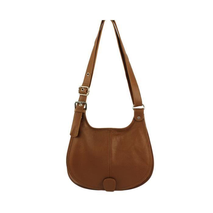 Sac bandouliere cuir femme Paolina Italie - Couleur:Camel Fonc&#2013265923