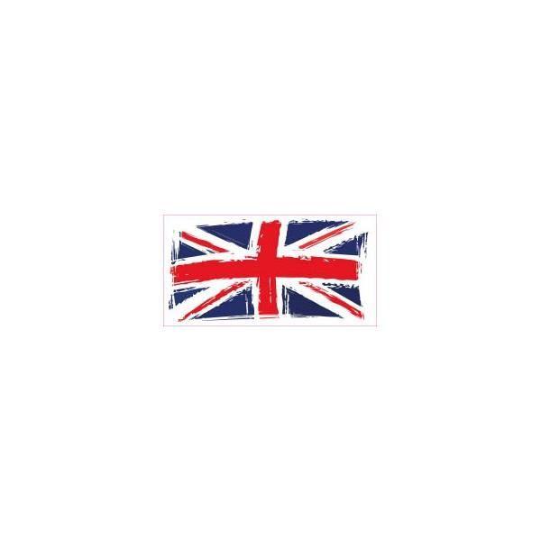 Drapeau abimé Angleterre Royaume-Uni autocollant sticker adhesif Taille : 4 cm