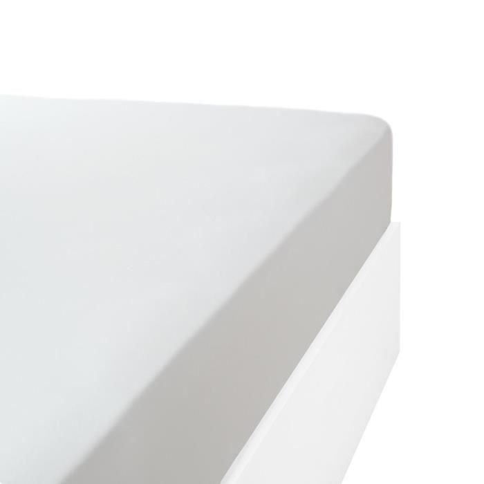 LINANDELLE - Drap housse coton jersey extensible DOUCEUR - Blanc - 130x190 cm