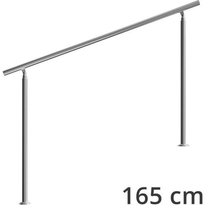 Rampe d'escalier 160 cm acier inoxydable sans traverse main courante balustrade garde-corps aide escalier balcon intérieur extérieur