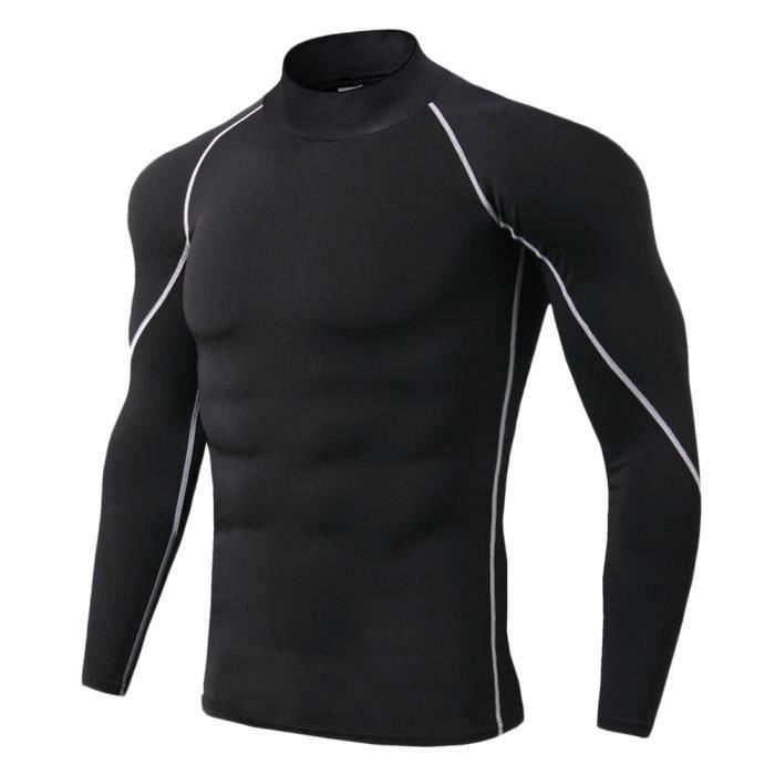 Maillot Compression À Manches Longues Pour Homme Tee Shirt De Sport Séchage Rapide Baselayer Haut Gris 3XL