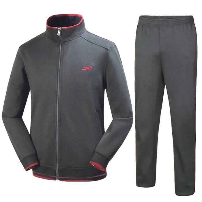 Hommes automne hiver solide sweat hauts pantalons ensembles survêtement de sport Gris