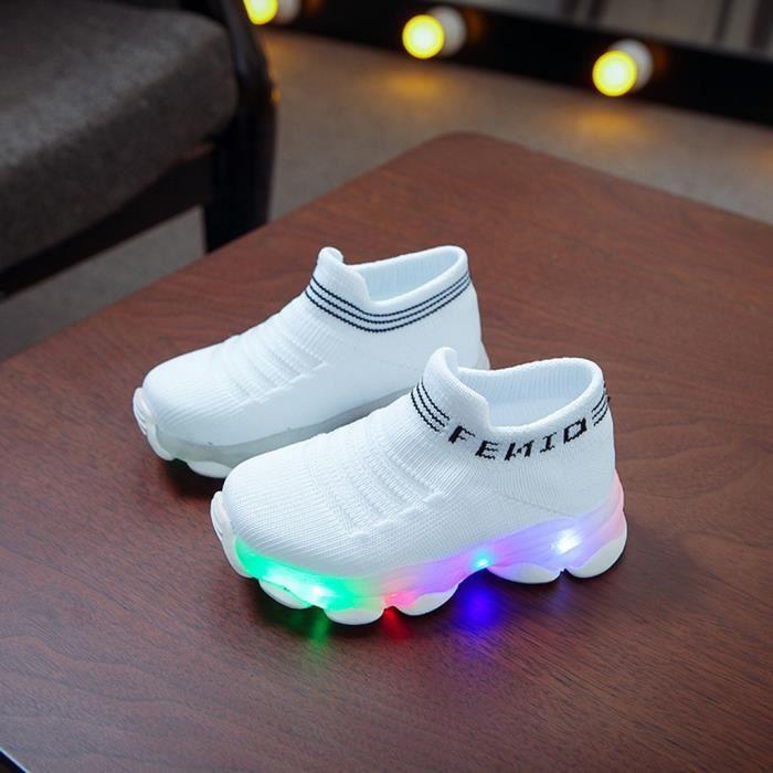 Enfants bébé filles garçons lettre maille Led chaussettes lumineuses Sport course baskets chaussures décontractées Blanc