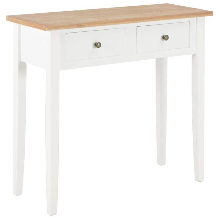 Table de Console-Table d'Appoint Contemporain et coiffeuse Blanc 79x30x74 cm Bois