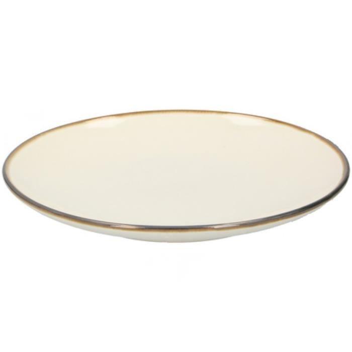 TOM assiette à dessert 21,5 x 2,8 cm céramique blanc ivoire