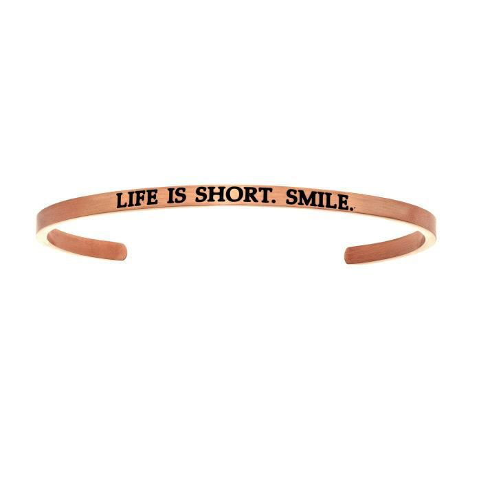 Intuitions Lacier inoxydable LIFE EST SHORT.SMILE. Bracelet avec bracelet à diamants et diamants