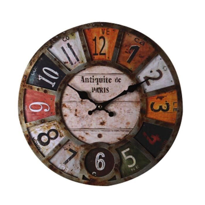 amazing horloge pendule rtro nostalgie en bois cadran horloge murale styl with horloge murale. Black Bedroom Furniture Sets. Home Design Ideas