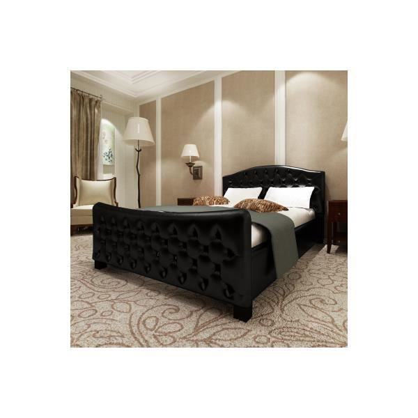 lit double 140 cm en pu capitonn sans matelas achat. Black Bedroom Furniture Sets. Home Design Ideas