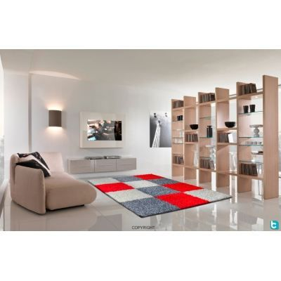 tapis gris rouge 120x160 cm achat vente tapis cdiscount. Black Bedroom Furniture Sets. Home Design Ideas