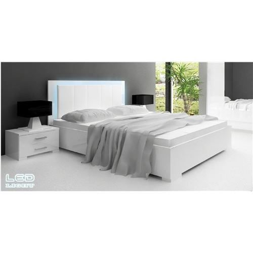 lit blanc laqu nali led achat vente structure de lit cdiscount. Black Bedroom Furniture Sets. Home Design Ideas