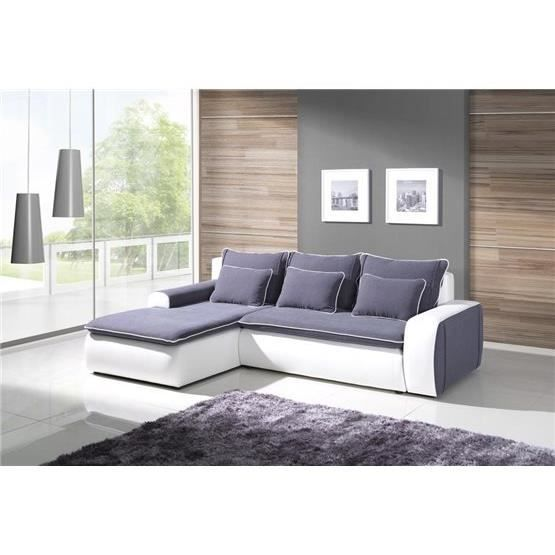 canap d 39 angle convertible luptia bleu et blanc angle gauche achat vente canap sofa. Black Bedroom Furniture Sets. Home Design Ideas