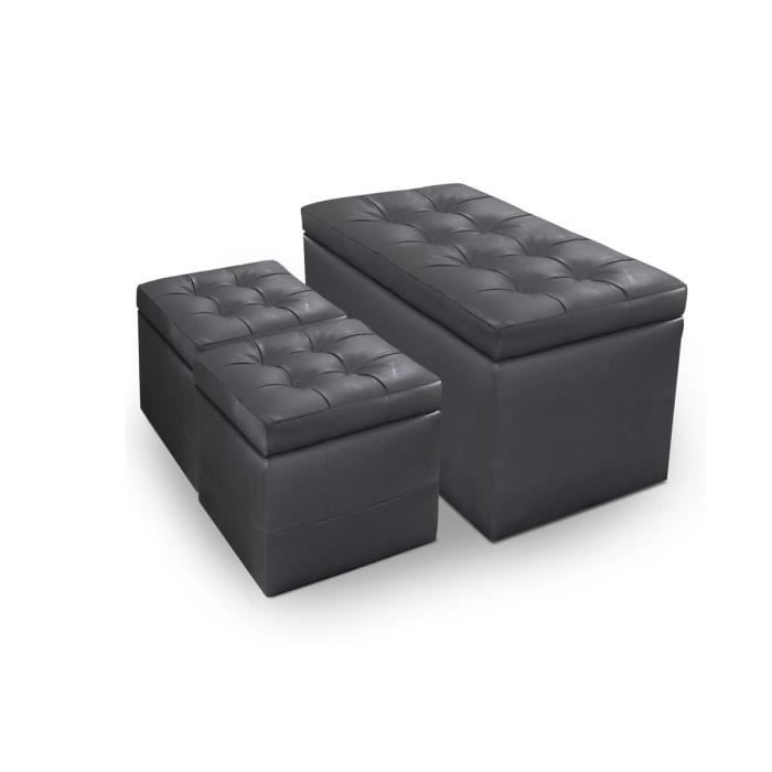 banquette coffre 2 poufs pu capitonn gris kapi achat vente banquette pu cuir cdiscount. Black Bedroom Furniture Sets. Home Design Ideas