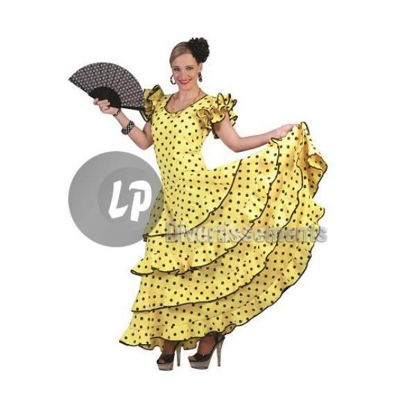 DÉGUISEMENT - PANOPLIE robe espagnole jaune à pois noirs taille xl