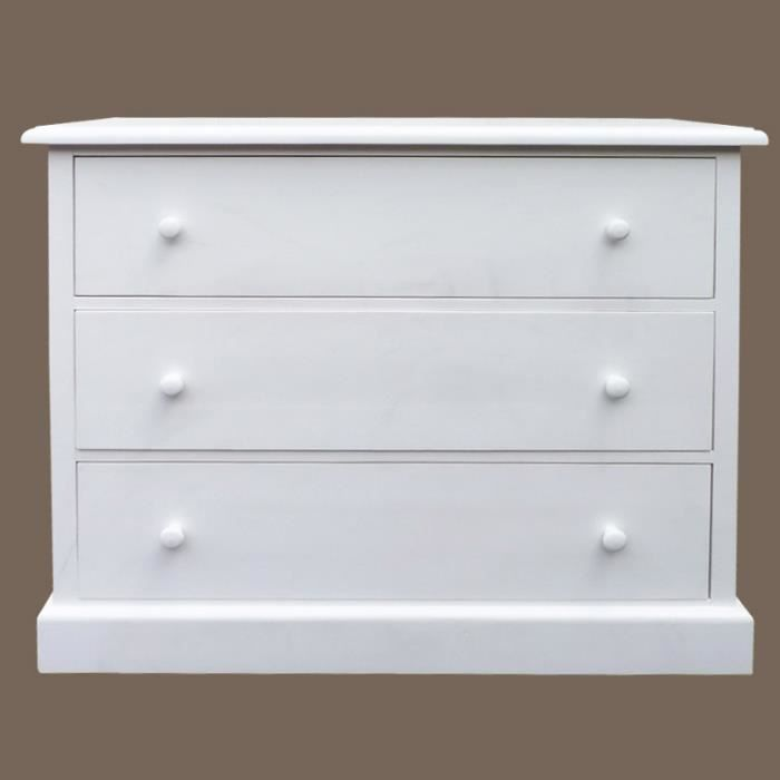 commode 3 tiroirs en pin massif cir miel blanc achat vente commode semainier commode 3. Black Bedroom Furniture Sets. Home Design Ideas