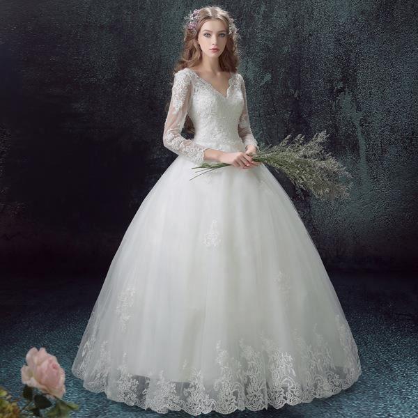 Robe de mariée haute couture V-Col la robe