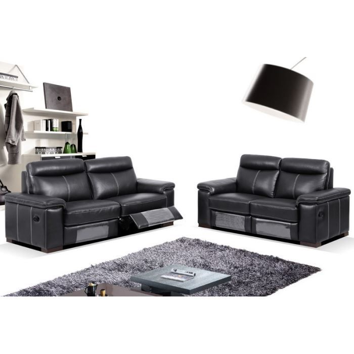 salon relax manuel 3 2 places noir 39 star 39 achat vente salon complet cuir bois acier. Black Bedroom Furniture Sets. Home Design Ideas