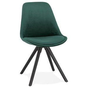 CHAISE Chaise vintage 'RICKY' en velours vert et pieds en
