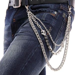 KingYH 1 Pi/èces Cha/îne de Pantalon 3 Chaines M/étal Cha/îne Portefeuille pour Femme Homme D/écoration Chapeau de Costume Hip Hop Punk Pants Accessoires