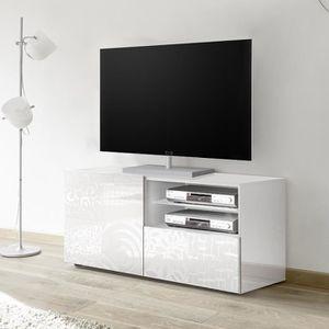 MEUBLE TV Petit meuble TV 120 cm blanc laqué design ELMA Bla