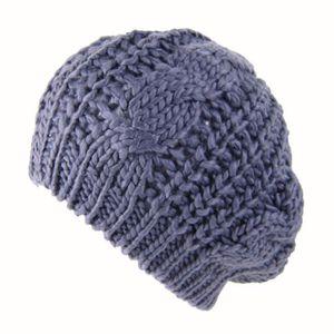 Tressé Crochet Laine Tricot Bonnet Béret Ski Ball Cap Baggy Pour Femme Hiver Chaud Chapeau