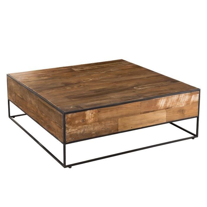 Table basse carrée - Teck recyclé et métal marron - L 100 x P 100 x H 36 cm
