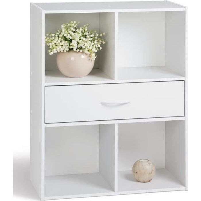 Compo Meuble De Rangement Contemporain Blanc L 62 Cm Achat Vente Petit Meuble Rangement Compo Cube 4 Cases 1 Tiroir Cdiscount