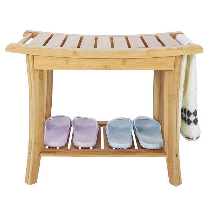 Siège de douche antidérapant en bambou naturel, salle de bains, spa, organisateur de baignoire avec étagère de rangement