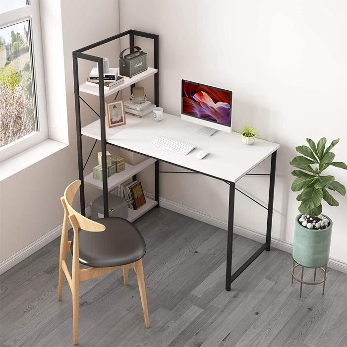 Table de bureau en bois et acier Style industriel Grand surface de stock, Meuble bureau ordinateur, blanc et Noir