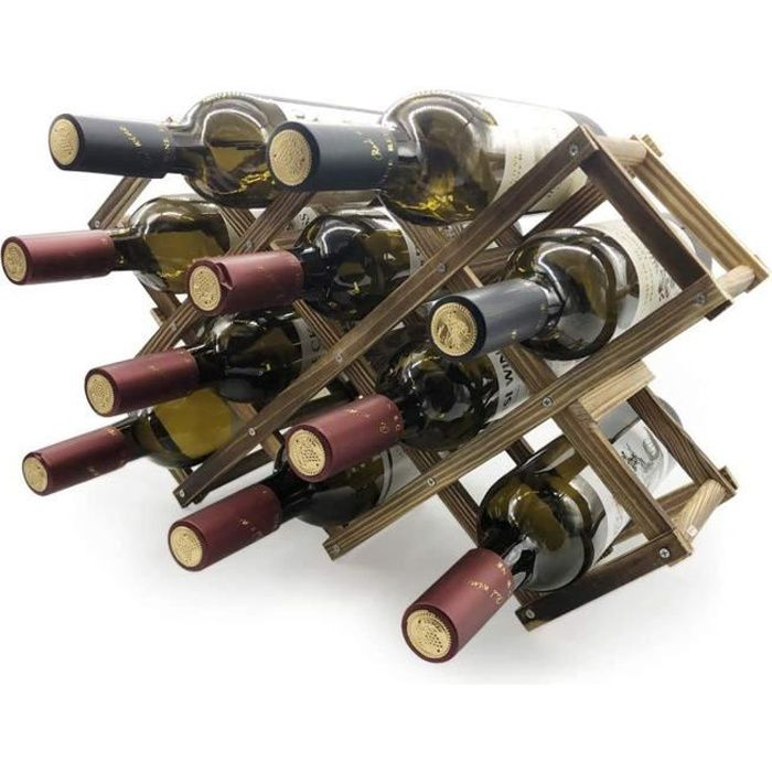 Etagères à Vin en Bois de 10 Bouteilles, Porte-Bouteille pour 10 Bouteilles Pliable à Rangement, Porte-Vin - Bois Carbonisé