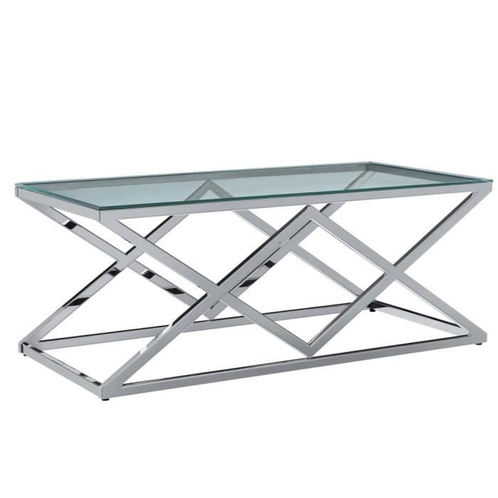 WIPES Table basse Transparent 120x60x45 cm Verre trempé et inox