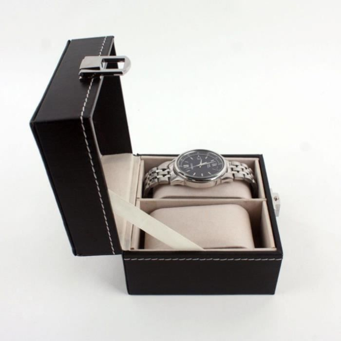 2 cas de boîte de montre en cuir pour le stockage unisexe d'organisateur de bijoux d'affichage de poignet mashanikon 4847 llyyll