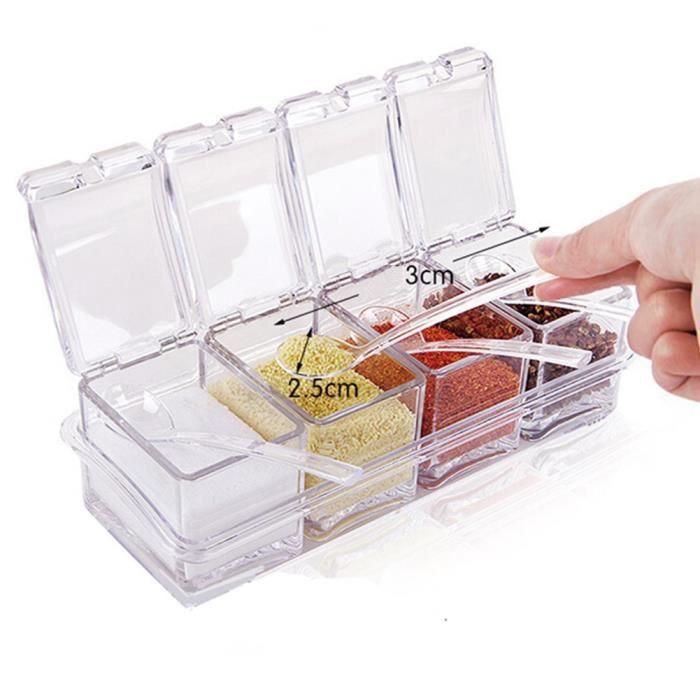 Set de 4 Pot Boîte à Epices Assaisonnement Condiment Box avec Couvercle et Cuillère Acrylique